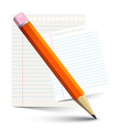 Orange Pencil and Empty Paper Notebook Sheets vector image vector image