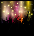party audience on starry background vector image vector image