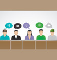 people with speech bubbles brainstorm vector image