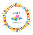 pills drugs pharmacy medicine round banner vector image vector image