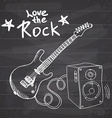 rock music hand drawn sketch guitar with sound box vector image