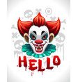 scary bad clown face cool creepy for vector image vector image