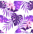 seamless pattern with tropical leaves and orchid vector image vector image