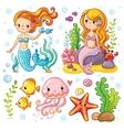 set on marine theme vector image vector image