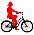 Silhouette of a cyclist girl vector image vector image