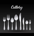 silver cutlery collection vector image