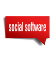 social software red 3d speech bubble vector image vector image