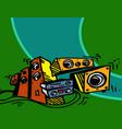 speaker system amplifier player front vector image