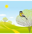 Spring landscape with a bird vector image vector image