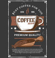 steaming coffee cup beans in scooper vector image vector image