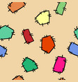 stitched doodles patches colorful seamless pattern vector image vector image