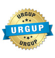 Urgup round golden badge with blue ribbon vector image vector image