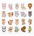 variety cute animals set vector image vector image