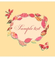 Vintage background with frame of patch leaves vector image vector image