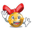waving christmas decoration in bell balls cartoon vector image