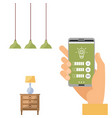 wi-fi app on phone used to control smart lamp in vector image