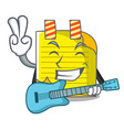 with guitar checked note paper mascot vector image