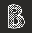 B alphabet letter with white polka dots on black vector image
