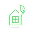 green thin line eco house logo vector image