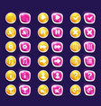 set with shiny pink and yellow interface buttons vector image