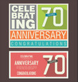 anniversary retro background 70 years vector image vector image