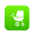baby carriage tricycles icon green vector image vector image