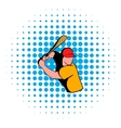 Baseball player icon comics style vector image