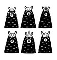 black and white llamas collection cute alpacas vector image vector image
