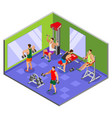 body building gym isometric composition vector image vector image