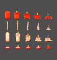 cartoon burning wax candles on different vector image vector image