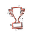 cartoon trophy cup icon in comic style winner vector image