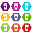 coffee in take away cup icon set color hexahedron vector image
