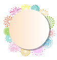 Colorful fireworks frame on white background vector image vector image