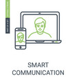 communication icon with laptom and phone vector image