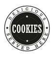 cookies vintage stamp logo vector image