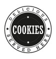 cookies vintage stamp logo vector image vector image