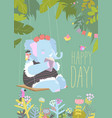cute cartoon elephant reading book and swinging on vector image vector image