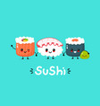 cute happy funny smiling sushiroll and wasabi vector image vector image