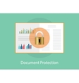 document paper protection with padlock sign vector image vector image