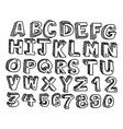 doodles font Handwritten in 3d style vector image vector image