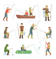 fisherman flat icons fishing people with fish and vector image vector image