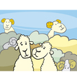 flock of sheep cartoon vector image vector image