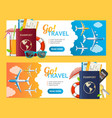 go travel banner horizontal set with realistic vector image vector image