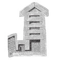 great pyramid giza kings chamber vintage vector image vector image