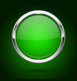 green glass button with metal frame round icon on vector image vector image