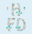 happy father day floral letters with blue ribbons vector image