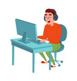 happy man with headphones playing computer game vector image