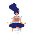 happy young woman doing yoga meditation isolated vector image