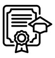 high degree diploma icon outline style vector image vector image