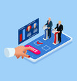 isometric online voting and election concept e vector image vector image